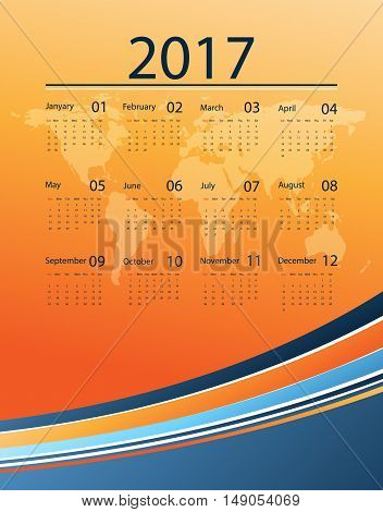 Corporate bright 2017 vector calendar design with world map. Elements for your work. Eps10