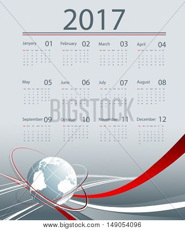 Corporate business 2017 vector calendar design. Elements for your work. Eps10