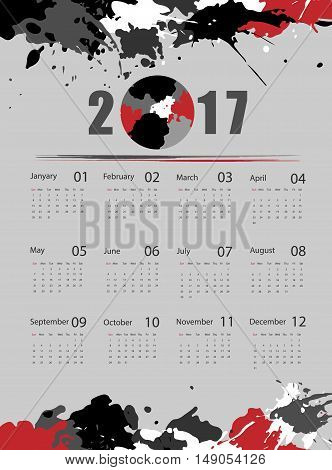 Grungy 2017 vector calendar design. Elements for your work. Eps10