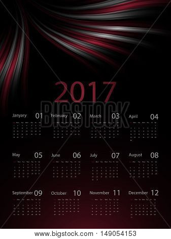 Dark wavy 2017 vector calendar design. Elements for your work. Eps10