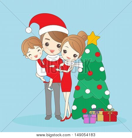 christmas father holding child with mother amd smile to you