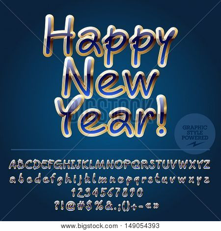 Vector New Year greeting card with set of letters, symbols and numbers