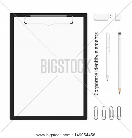 Realistic black clipboard with paper, pencils, pen, USB flash drive and paper clip. Vector templates of corporate identity. Branding design.