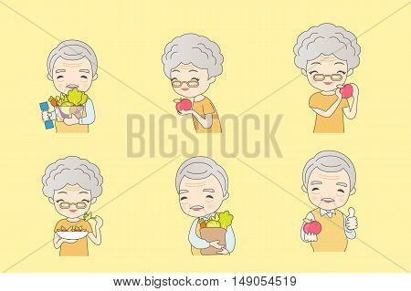 Old couple eat healthy fruits and vegetables great for your health