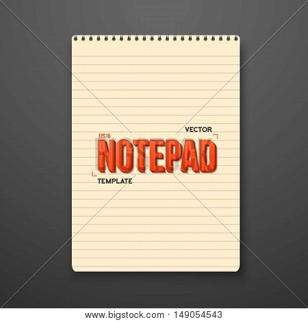 Illustration of Realistic Vector Notepad Office Equipment Element. Yellow Paper Spiral Notepad