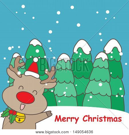 happy cartoon reindeer with christmas tree great for your design