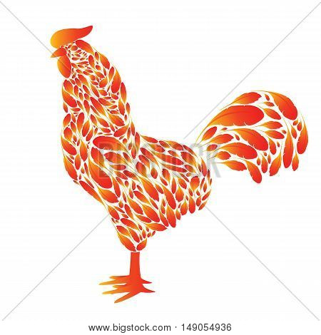 Cartoon Rooster with red fire feathers on a white background. Cock the symbol of 2017.