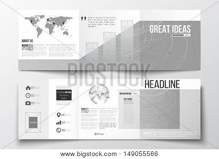 Vector set of tri-fold brochures square design templates with element of world map and globe. Molecular construction with connected lines and dots scientific or digital design pattern on gray background.
