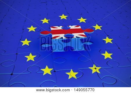 Great britain national flag against blue jigsaw piece over jigsaw puzzle