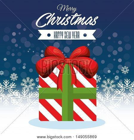 merry christmas big gift and happy new year vector illustration