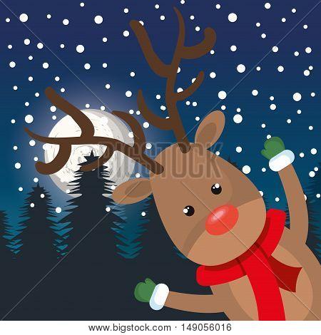 card cheerful reindeer landscape night vector illustration eps 10
