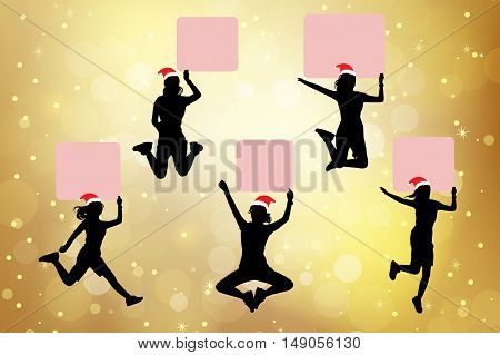 silhouette of christmas woman show billboard with gold background