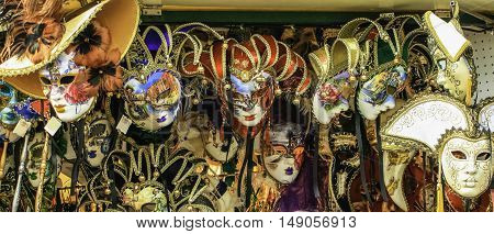 Selection of face masks displayed in a Venice stall