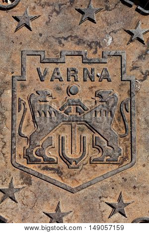 Arms of city of Varna, Bulgaria on the manhole cover
