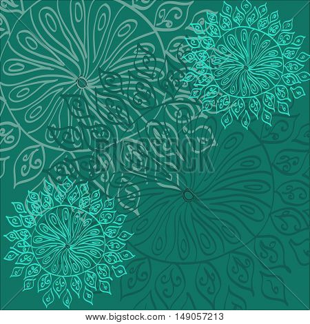 Colored abstract vector oriental lacy pattern in blue colors.