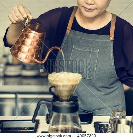 Barista Prepare Coffee Working Order Concept