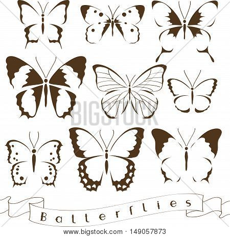 Set of decorative butterfly silhouettes. Vector icon