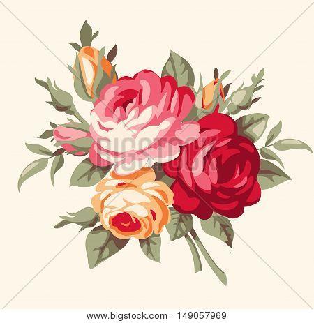 Decorative bouquet of vintage roses. Vector antique flowers