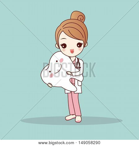 cute cartoon dentist doctor with tooth great for health dental care concept