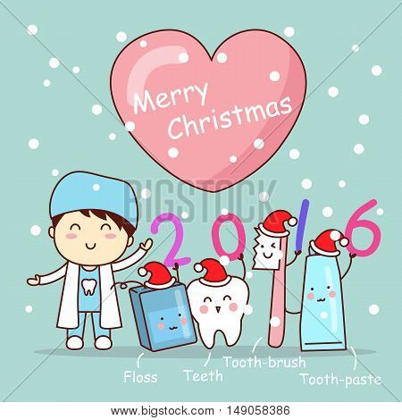 christmas and cute cartoon dentist with tooth brush and floss