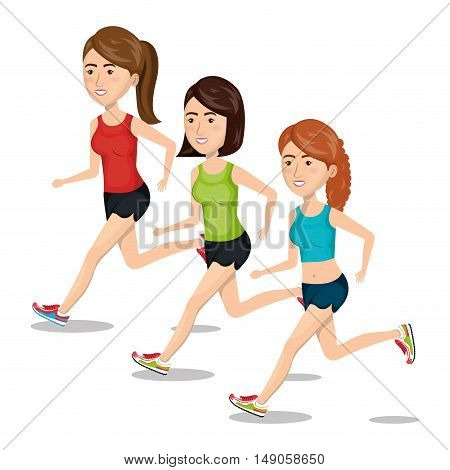 group girl running jogging sport design isolated vector illustration eps 10