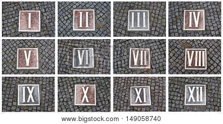 Collage of photos from the series of Roman numerals