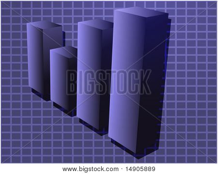 Three-d barchart financial diagram illustration over square grid