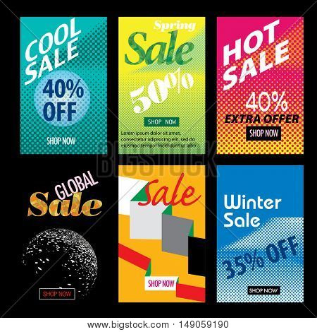templates for web shopping or printed flyers, abstract vector backgrounds, set of retro designed layouts