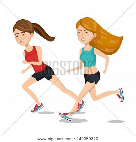 two girl cartoon running jogging icon graphic vector illustration eps 10