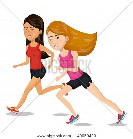 girl cartoon running jogging icon graphic vector illustration eps 10