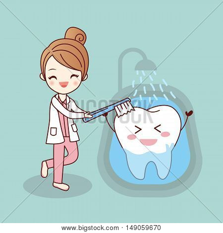 beauty cartoon dentist is brush tooth great for health dental care concept