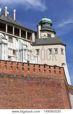 Wawel Royal Castle with defensive wall Krakow Poland.