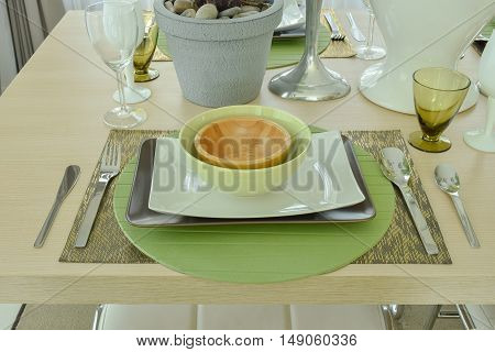 Beautiful Empty Plate Setting On Wooden Dining Table