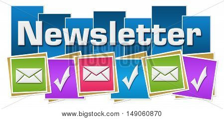 Newsletter concept image with text and related symbols.