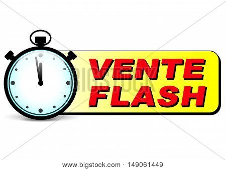 Illustration of flash sale icon with stopwatch