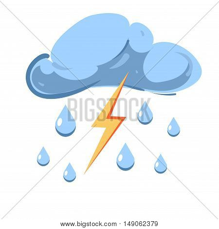 Vector cloud with falling rain and striking lightning isolated on white background. Stormy and thunderstorm illustration