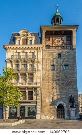 GENEVA,SWITZERLAND - AUGUST 27,2016 - Tower - Tour de Ille building in Geneva. Geneva is a global city a financial center and worldwide center for diplomacy.