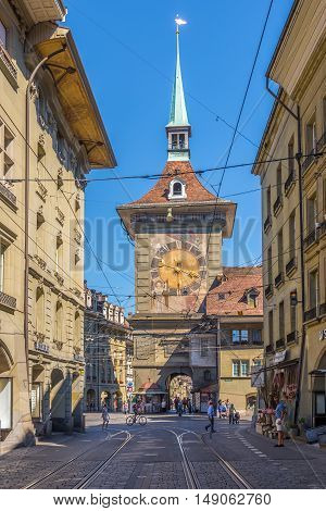 BERN,SWITZERLAND - AUGUST 26,2016 - Zytglogge - Tower clock from West side in Bern. Bern is capital of Switzerland.