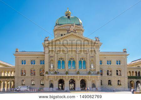 BERN,SWITZERLAND - AUGUST 26,2016 - Parliament building in Bern. Bern is capital of Switzerland.