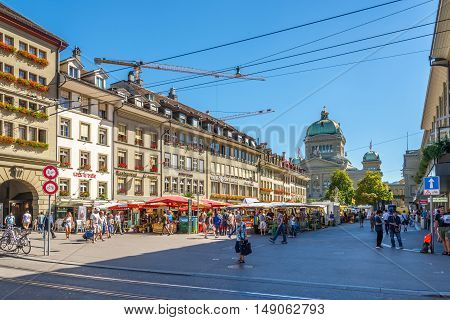 BERN,SWITZERLAND - AUGUST 26,2016 - In the streets of Bern. Bern is capital of Switzerland.