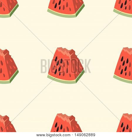 Pink watermelon vector seamless pattern. Background with a piece of watermelon illustration