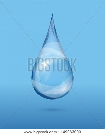 Realistic transparent water drop over blue background. Wet clear bubble, vector illustration