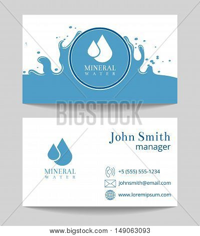 Mineral water delivery business card both sides template. Organic and natural, vector illustration