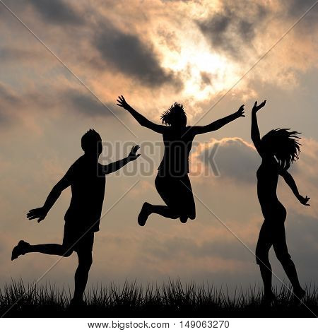 Silhouettes of friends jumping outdoor set 1