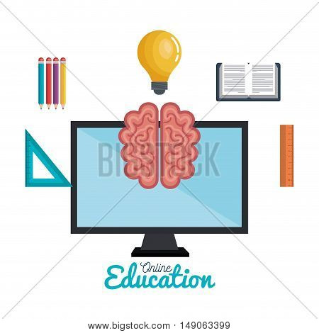 education online science mind icons study distance design isolated vector illustration