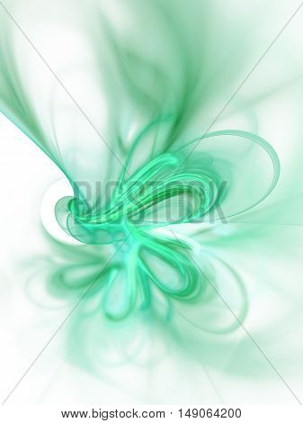 Fractal smoke. Abstract blurred green swirl on white background. Fantasy design for posters greeting cards or t-shirts. Digital art. 3D rendering.