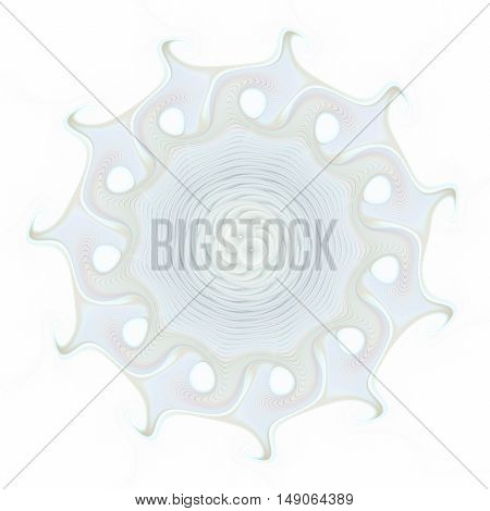 Abstract pale blue mandala on white background.Fantasy fractal design for postcards wallpapers or clothes.