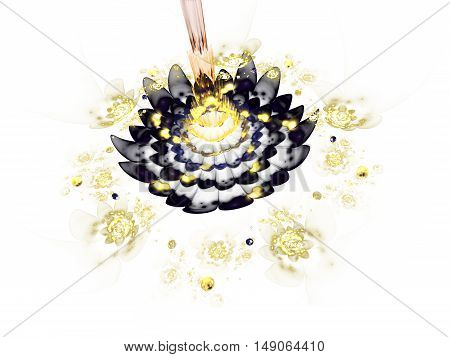 Abstract colorful black and yellow flowers on white background. Fantasy fractal design for posters or t-shirts. Digital art. 3D rendering.