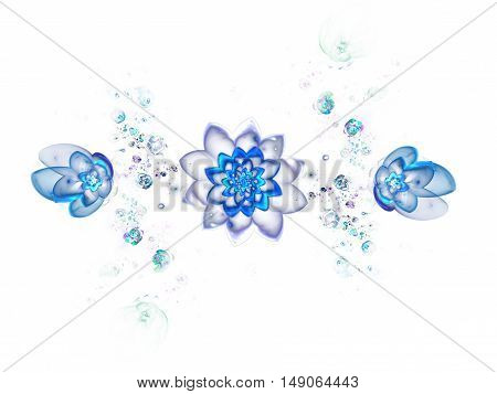 Abstract colorful blue flowers on white background. Fantasy fractal design for posters or t-shirts. Digital art. 3D rendering.
