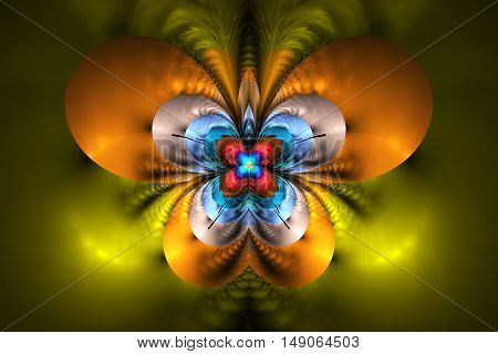 Abstract exotic flower on black background. Symmetrical pattern in bright orange yellow red and blue colors. Fantasy fractal design for posters wallpapers or t-shirts. Digital art. 3D rendering.